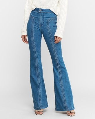 Express Super High Waisted Dark Wash Stretch Bell Flare Jeans