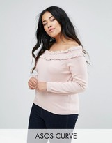 Asos Jumper With Ruffle Off Shoulder
