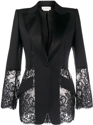 Alexander McQueen Floral Lace Panel Blazer