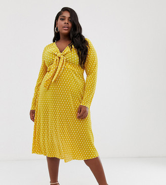Asos DESIGN Curve exclusive plisse midi dress with bunny ties in polka dot