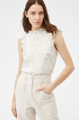 Rebecca Taylor Hana Applique Embroidered Top