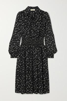 MICHAEL Michael Kors Shirred Polka-dot Georgette Dress