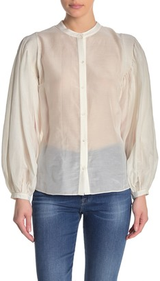 Frame Solid Mandarin Balloon Sleeve Blouse