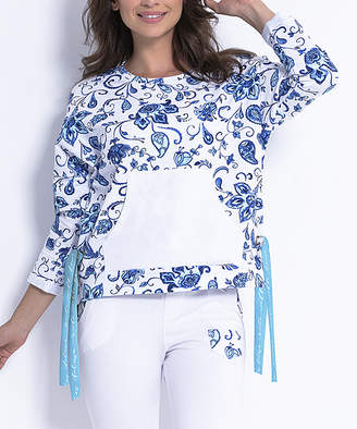 Fobya Women's Sweatshirts and Hoodies PAYSLEY - Blue & White Floral Kangaroo-Pocket Tie-Side Sweatshirt - Women