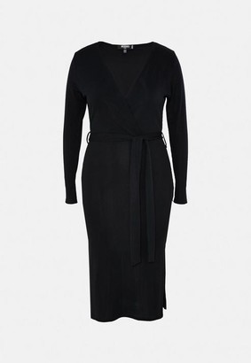 Missguided Plus Size Black Rib Wrap Midi Dress