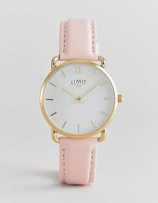 Limit Faux Leather Watch in Pastel Pink 33mm Exclusive to ASOS