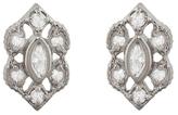 Megan Thorne Ribbon Frame Marquise Stud Earrings - White Gold