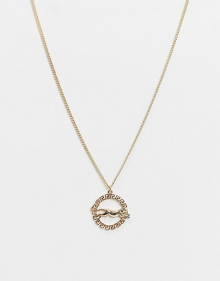 Topshop tiger circle pendant necklace in gold