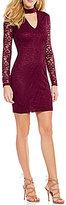 B. Darlin Choker Neckline Long Illusion Sleeve Lace Sheath Dress