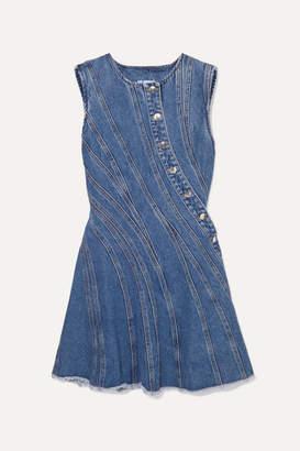 Thierry Mugler Frayed Paneled Denim Mini Dress - Blue