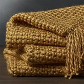 Crate & Barrel Landyn Gold Chunky Knit Throw