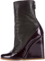 Lanvin Leather & Patent Wedge Boots