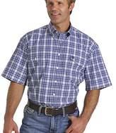 Cinch Men's Classic Fit Short Sleeve Two Flap Pocket Plaid Shirt