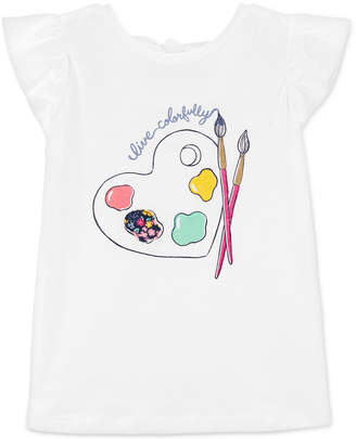 Carter's Carter Little & Big Girls Bow-Back Paint-Print Cotton T-Shirt