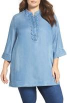 Melissa McCarthy Plus Size Women's Scallop Placket Chambray Shirt
