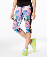 Material Girl Active Juniors' Printed Lattice-Side Cropped Leggings, Created for Macy's