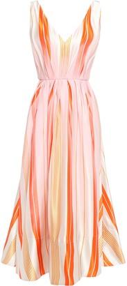 Roksanda Grosgrain-trimmed Striped Silk-organza Midi Dress