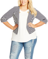 City Chic Plus Size Striped Blazer