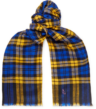 Anderson & Sheppard + Camoshita Fringed Checked Cashmere Scarf - Yellow