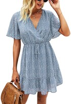 Thumbnail for your product : Kirundo 2021 Womens Summer Short Sleeve Ruffle Floral Dress Sexy V Neck High Waist Layer Short Mini Dress with Belt (Large