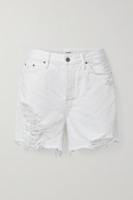 GRLFRND Jourdan Frayed Denim Shorts