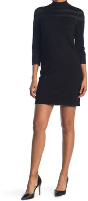 T Tahari Sheer Stripe Mock Neck 3/4 Sleeve Dress