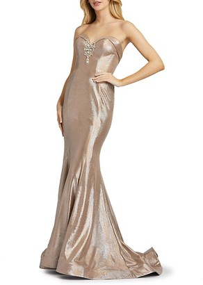 Mac Duggal Strapless Shimmer Trumpet Gown
