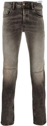 Diesel Grey Faded Straight-Leg Jeans