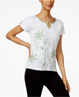 Alfred Dunner Petite Garden Party Floral-Embroidered Top