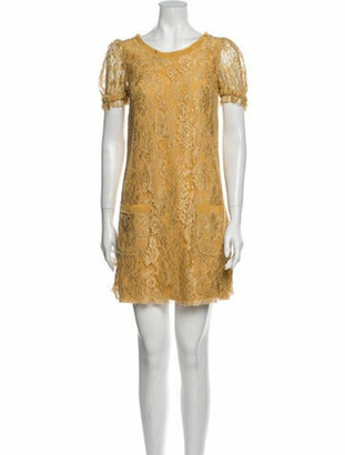 Dolce & Gabbana Lace Pattern Mini Dress Yellow