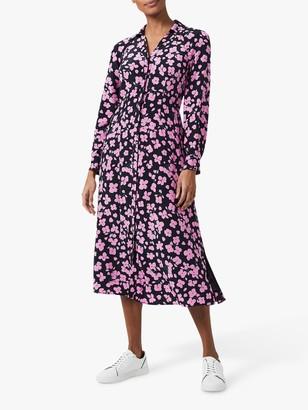 Hobbs Lulu Floral Midi Shirt Dress, Navy/Pink