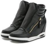 ACE SHOCK Women's Casual High Top Hidden Heel Wedges Fashion Sneakers (7.5, )