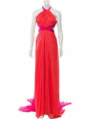 Brandon Maxwell 2018 Color Block Maxi Gown w/ Tags Coral