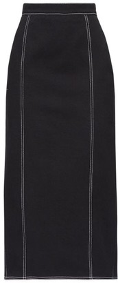 Alexander McQueen Topstitched Pleated-back Denim Skirt - Black