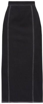 Alexander McQueen Topstitched Pleated-back Denim Skirt - Womens - Black