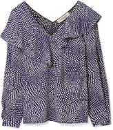 Diane von Furstenberg Ruffled Polka-dot Silk Crepe De Chine Blouse - Storm blue