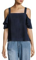 Robert Rodriguez Suede Cold-Shoulder Ruffle-Sleeve Top, Blue