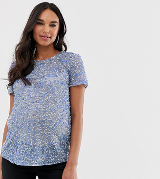 Asos DESIGN Maternity t-shirt with sequin embellishment-Blue