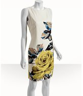 citrus floral detail silk-linen sheath dress