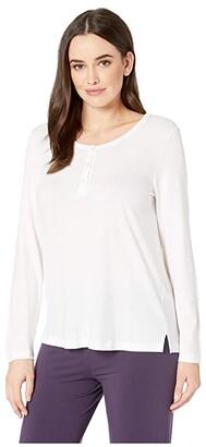Hanro Sleep Lounge Long Sleeve Henley Shirt (White) Women's T Shirt