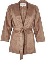 River Island Womens Tan faux suede kimono jacket