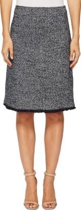 Ellen Tracy Women's Tweed A-line Skirt with Fringe Trim