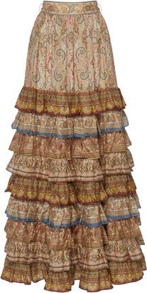Zimmermann Tiered Printed Silk Maxi Skirt