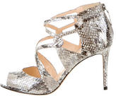 Alexandre Birman Metallic Snakeskin Sandals w/ Tags