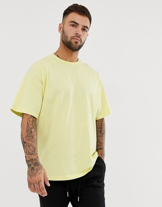 Asos Design DESIGN oversized fit t-shirt with crew neck in pale yellow-Green
