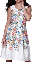 Yumi Floral V-Neck Occasion Dress, Ivory