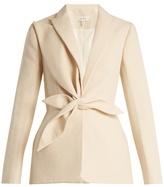 DELPOZO Single-breasted draped-appliqué cotton jacket