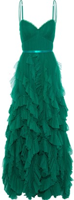 Marchesa Satin-trimmed Pleated Tulle Gown