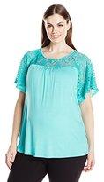 Three Seasons Maternity Women's Maternity Short Sleeve Lace Yoke Solid Top Plus