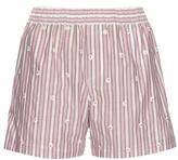 No.21 NO. 21 Embellished striped cotton-poplin shorts